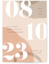 This is a orange save the date by Pixel and Hank called Big Bold with standard printing on signature in standard.