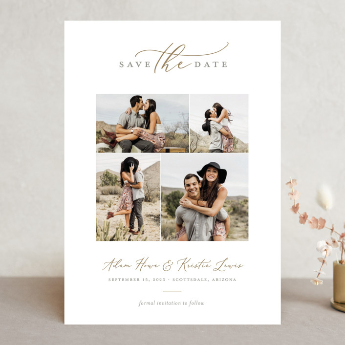 """""""Simply"""" - Save The Date Cards in Golden by Sarah Brown."""