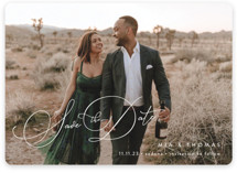 This is a white save the date by Jennifer Postorino called Serenade with standard printing on signature in standard.