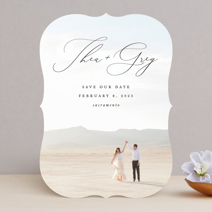 """""""Enchantment"""" - Save The Date Cards in Graphite by Snow and Ivy."""