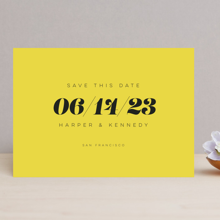 """Bold Simplicity"" - Save The Date Cards in Mimosa by Laura Bolter."