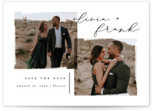 This is a black save the date by Snow and Ivy called pastiche with standard printing on smooth signature in standard.
