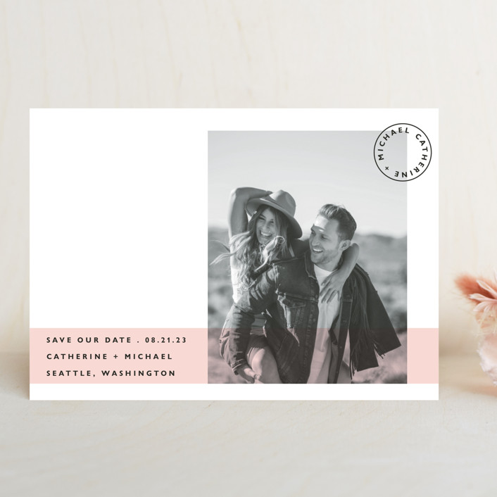 """Sealed with a Kiss"" - Save The Date Cards in Blush by Hudson Meet Rose."