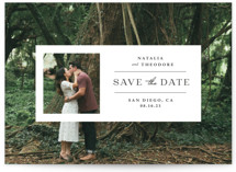 This is a white save the date by Danie Romrell called Window with standard printing on signature in standard.