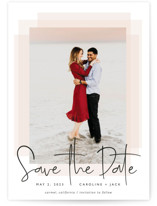 This is a black and white save the date by Erin Deegan called Layered with standard printing on signature in standard.