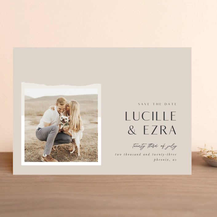 """""""Love and Harmony"""" - Save The Date Cards in Fawn by Bonjour Berry."""