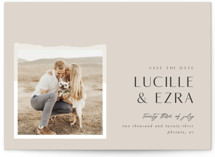 This is a beige save the date by Bonjour Berry called Love and Harmony with standard printing on signature in standard.
