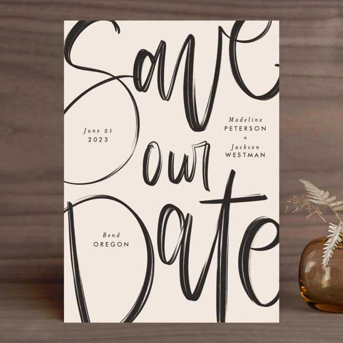"""""""Off the Page"""" - Save The Date Cards in Petal by Amy Payne."""