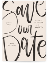 This is a pink save the date by Amy Payne called Off the Page with standard printing on signature in standard.
