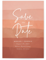 This is a red save the date by Susan Asbill called desertscape with standard printing on signature in standard.