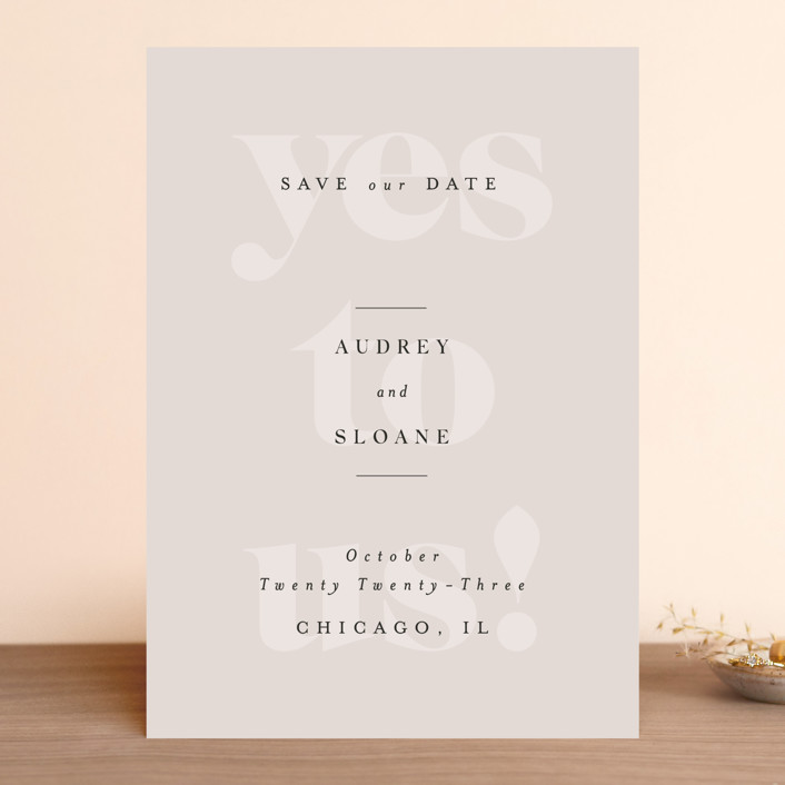 """""""Bold Beauty"""" - Save The Date Cards in Fog by Nazia Hyder."""