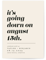 This is a beige save the date by Erica Krystek called Party Down with standard printing on signature in standard.