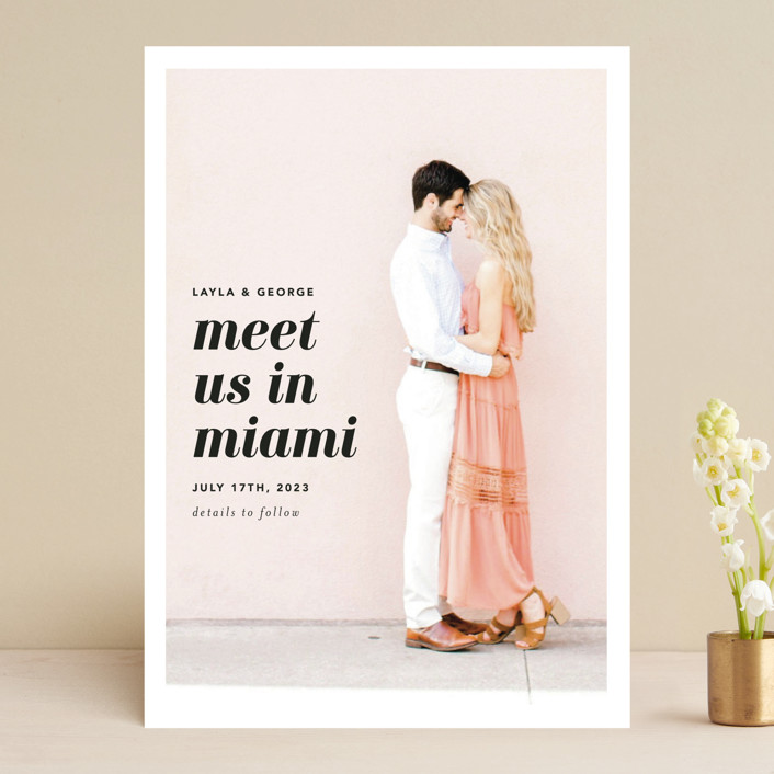 """Meet Us In Miami"" - Save The Date Cards in Blush by Laura Hamm."