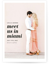 This is a pink save the date by Laura Hamm called Meet Us In Miami with standard printing on signature in standard.