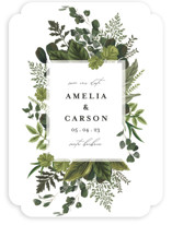 This is a green save the date by Susan Moyal called Natures Forest with standard printing on signature in standard.