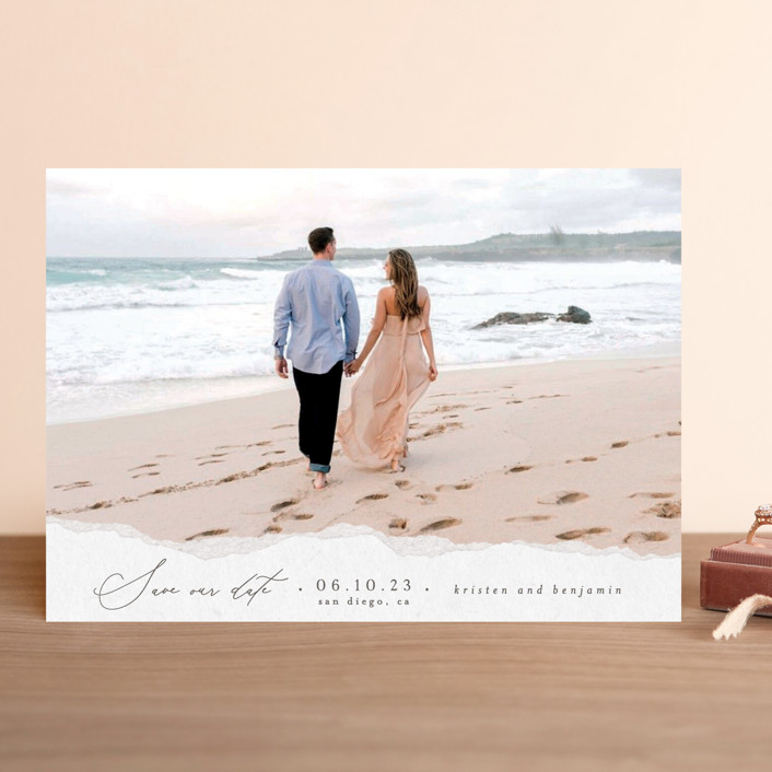"""Torn Texture"" - Save The Date Cards in Parchment by Everett Paper Goods."