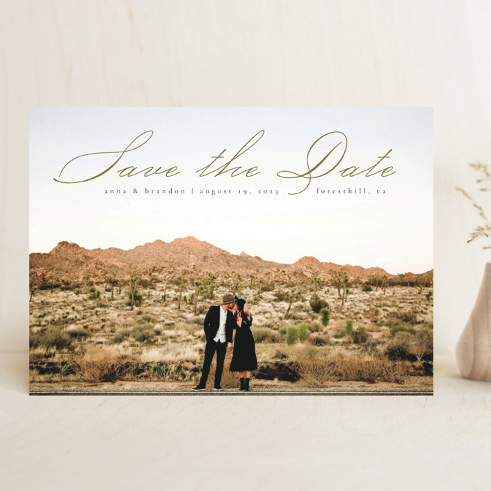 """""""Heavenly"""" - Save The Date Cards in Moss by Kann Orasie."""