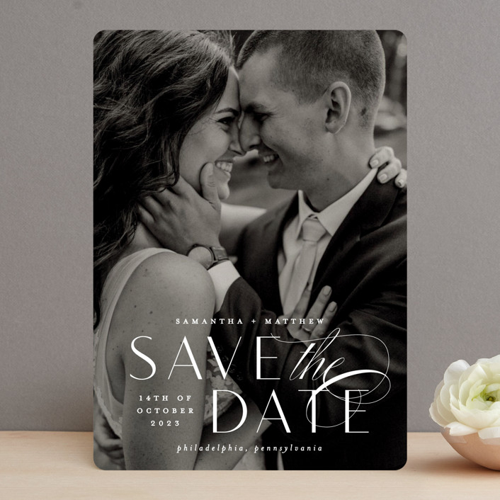 """""""Swoop"""" - Save The Date Cards in Pearl by Everett Paper Goods."""
