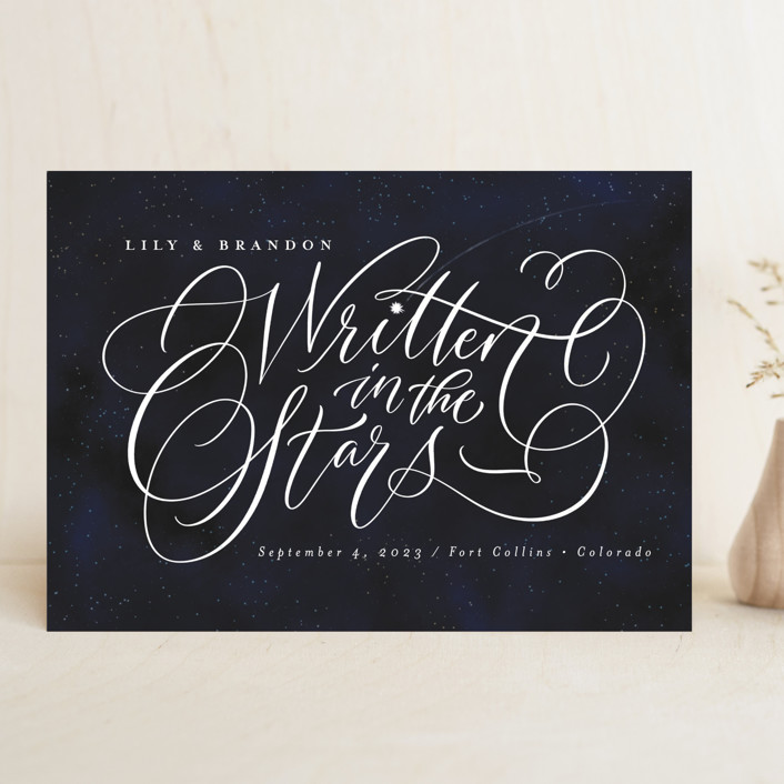 """""""Starry-Eyed"""" - Save The Date Cards in Night Sky by Laura Bolter."""