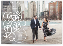 This is a white save the date by Jill Means called Lettering Loop with standard printing on signature in standard.