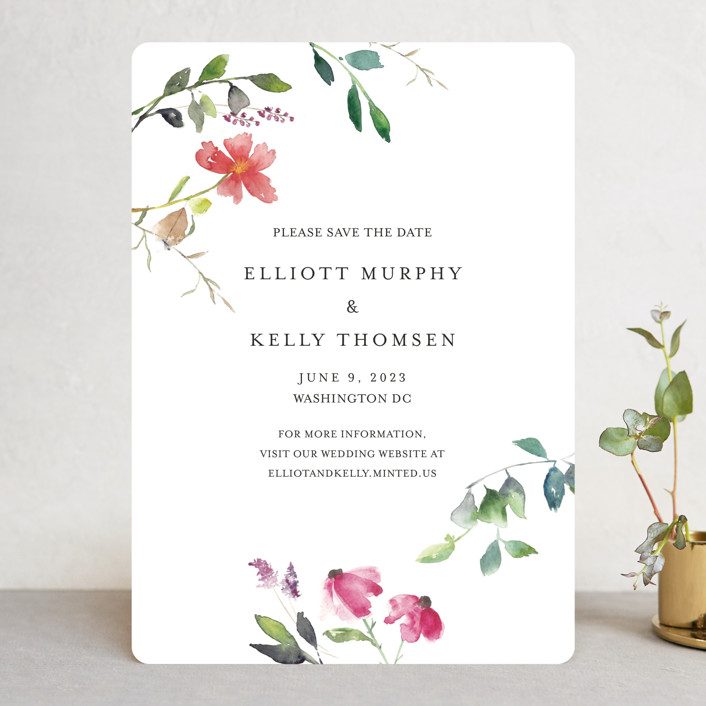 """Spring Wildflowers"" - Save The Date Cards in Floral by Mere Paper."