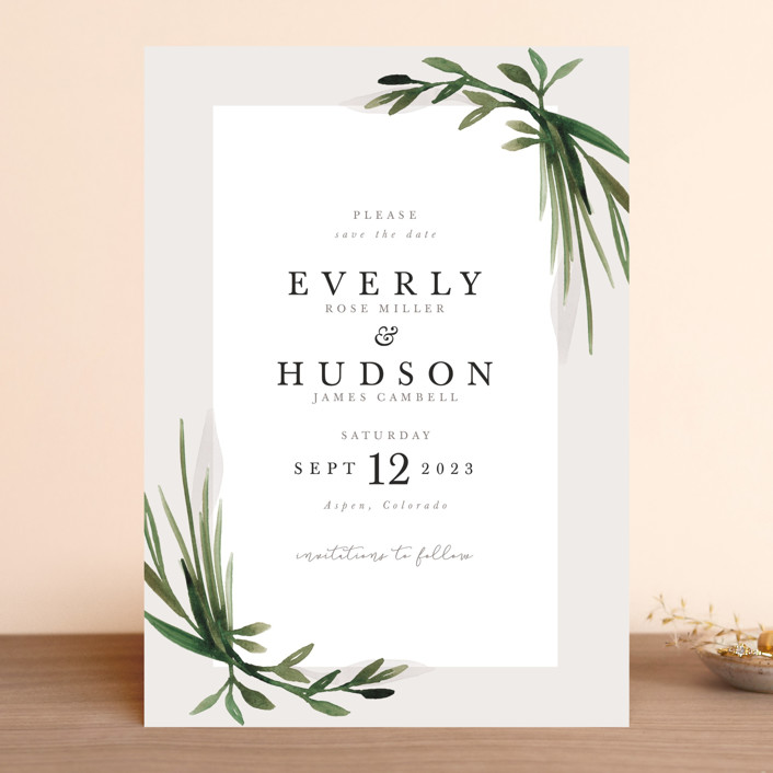 """""""Botanical Frame"""" - Save The Date Cards in Fog by Kate Ahn."""