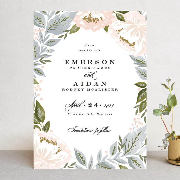 """""""Peony Floral Frame"""" - Save The Date Cards in Cornflower by Alethea and Ruth."""
