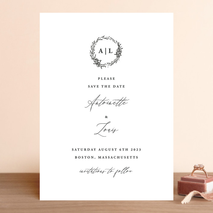 """Antoinette"" - Save The Date Cards in Ivory by lulu and isabelle."
