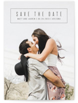 This is a black save the date by Penguin Creative called boxed announcement with standard printing on signature in standard.