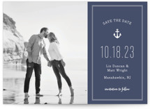 This is a blue save the date by Sandra Picco Design called Down by the Sea with standard printing on smooth signature in grand.