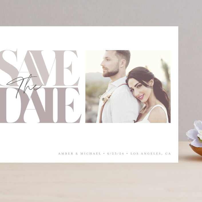 """""""Serifs"""" - Grand Save The Date Cards in Stone by GeekInk Design."""