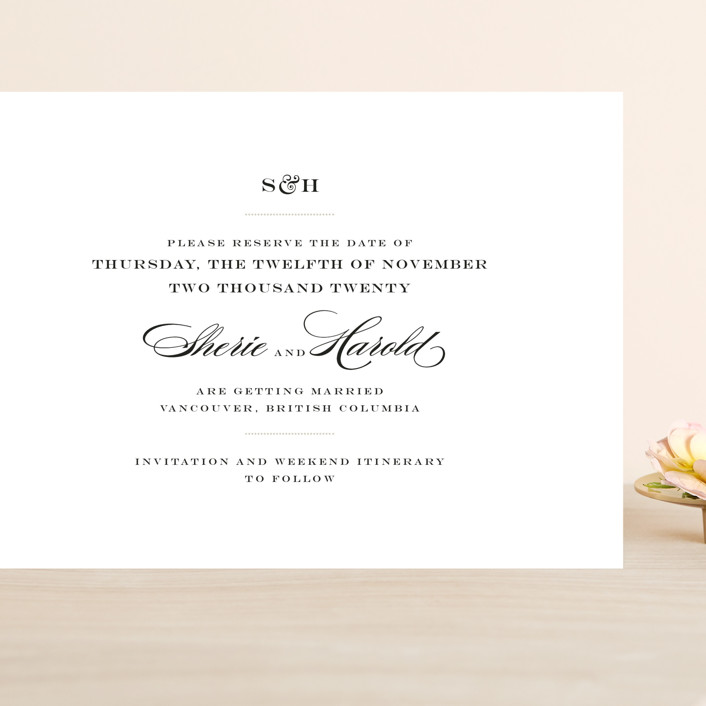 """""""Charming Go Lightly"""" - Grand Save The Date Cards in Feather by danielleb."""