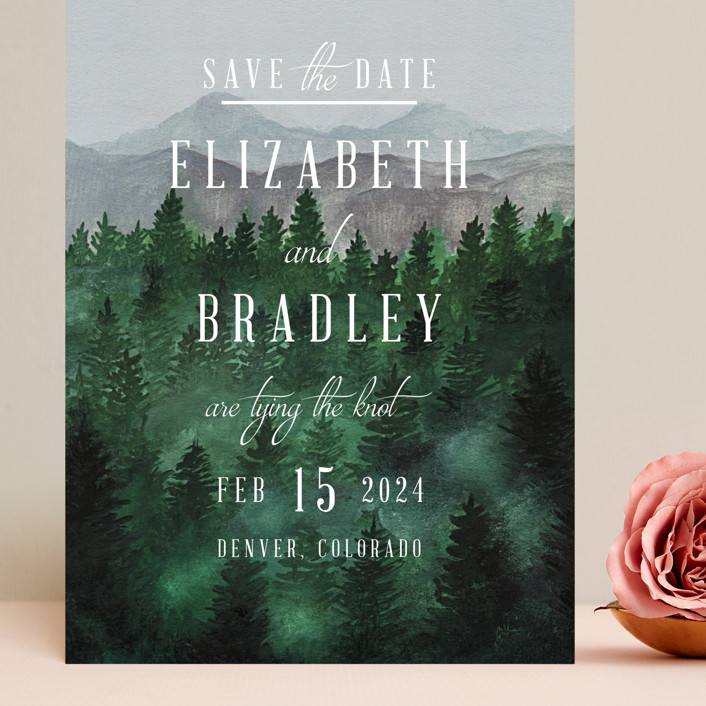"""Adventure Awaits"" - Rustic Grand Save The Date Cards in Smoke by Elly."