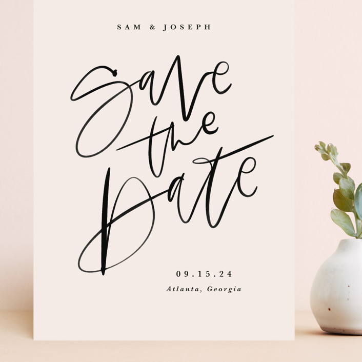 """""""Brushpen"""" - Grand Save The Date Cards in Cream by Kristen Smith."""