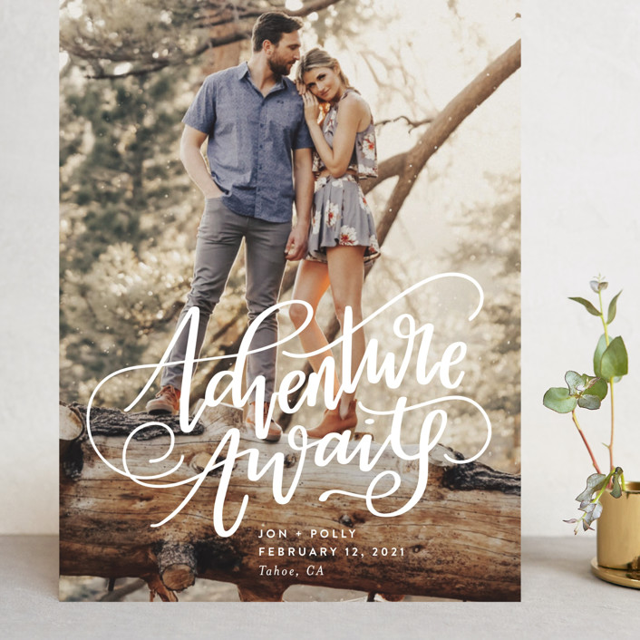 """""""Adventure Awaits"""" - Bohemian, Modern Grand Save The Date Cards in Ivory by Amy Payne."""
