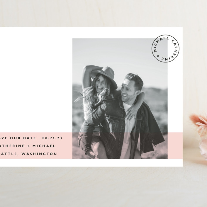 """""""Sealed with a Kiss"""" - Grand Save The Date Cards in Blush by Hudson Meet Rose."""