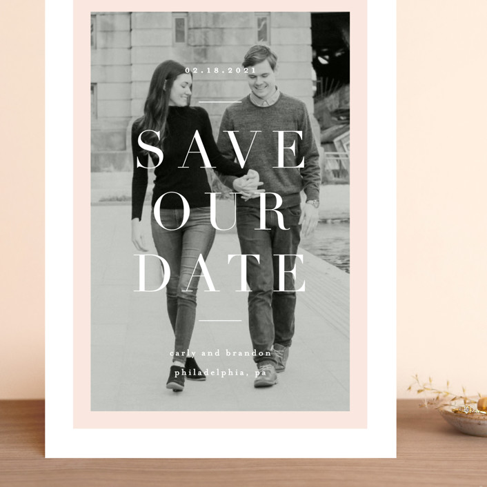 """Modernist Minimal"" - Grand Save The Date Cards in Blush by Everett Paper Goods."
