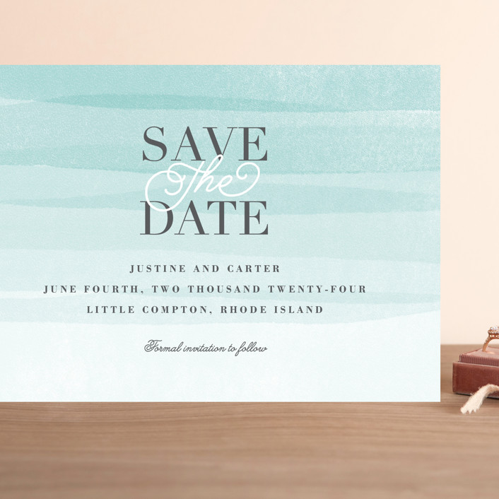 """""""Old Post Road"""" - Grand Save The Date Cards in Sea Salt by Jennifer Wick."""