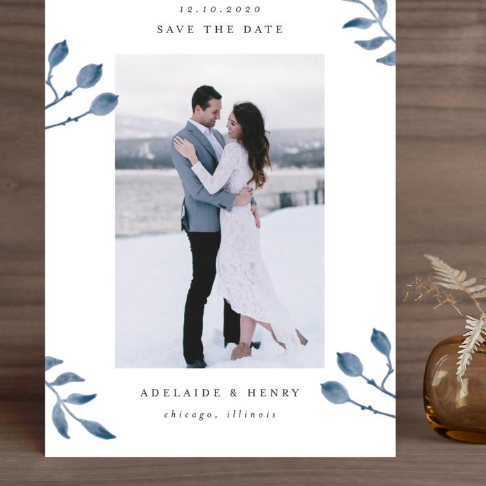 """Serenity"" - Grand Save The Date Cards in Nigella by Lehan Veenker."