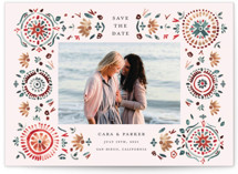 This is a colorful save the date by Morgan Ramberg called Boho Bright with standard printing on smooth signature in grand.