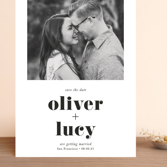 """""""Modern Simplicity"""" - Grand Save The Date Cards in Monochrome by Hudson Meet Rose."""