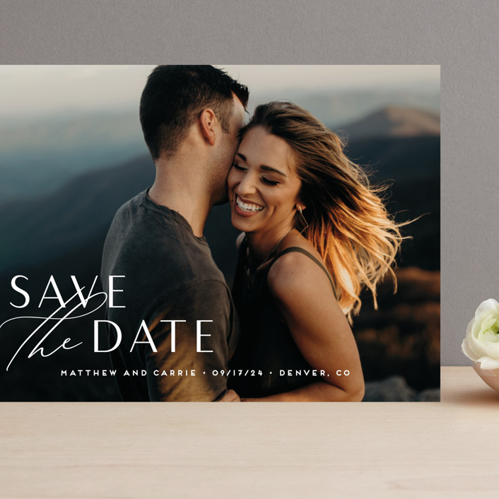 """""""Eloquent"""" - Grand Save The Date Cards in Pearl by Jennifer Postorino."""