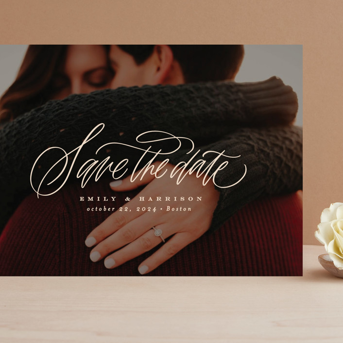 """""""Layover"""" - Grand Save The Date Cards in Almond by Erin L. Wilson."""