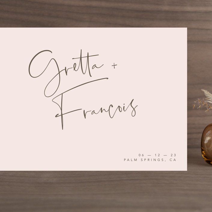 """""""Oversized"""" - Grand Save The Date Cards in Rosewater by Mere Paper."""