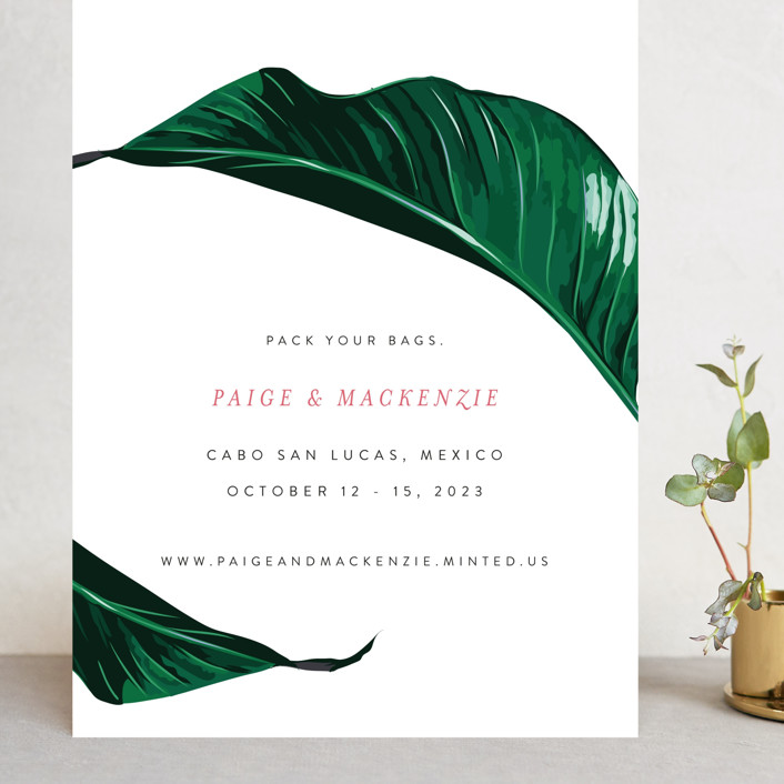 """Mod Palm"" - Grand Save The Date Cards in Pearl by Fig and Cotton."
