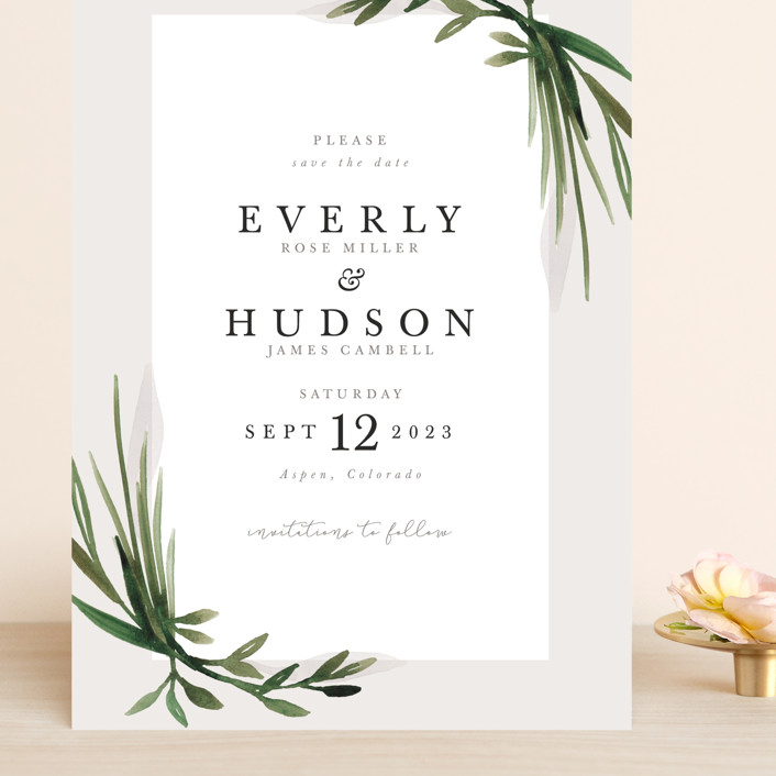 """Botanical Frame"" - Grand Save The Date Cards in Fern by Kate Ahn."