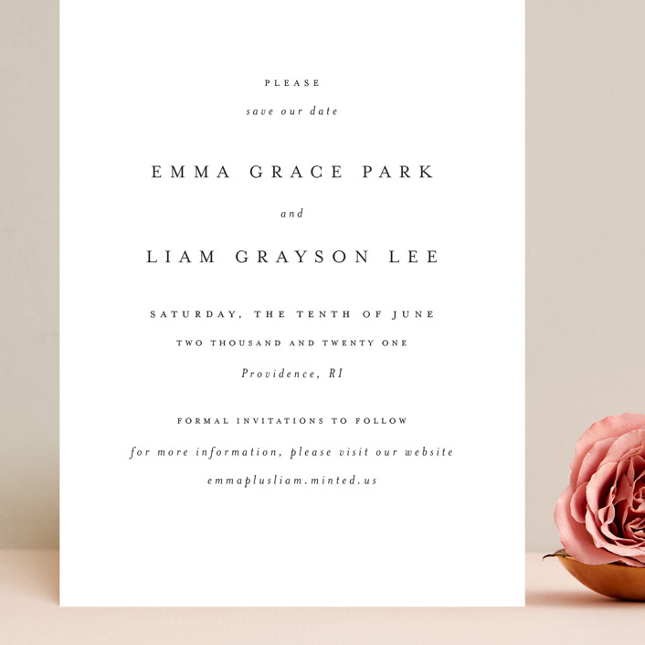 """A Thousand Years"" - Grand Save The Date Cards in Classic White by Design Lotus."