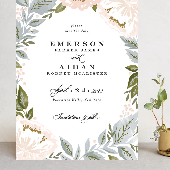 """Peony Floral Frame"" - Grand Save The Date Cards in Cornflower by Alethea and Ruth."