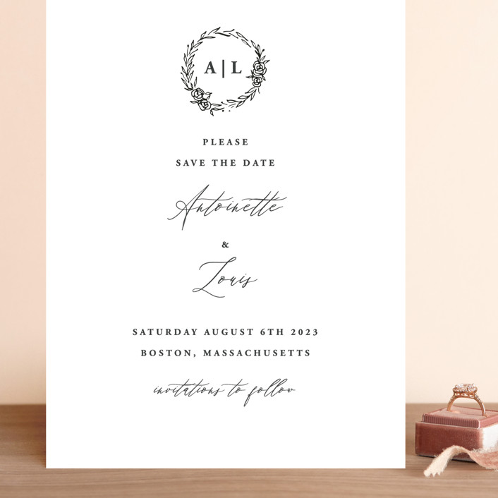 """""""Antoinette"""" - Grand Save The Date Cards in Ivory by lulu and isabelle."""