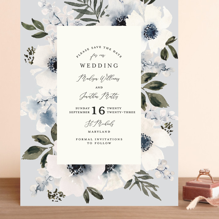 """""""Nantucket Romance"""" - Grand Save The Date Cards in Marine by Chris Griffith."""
